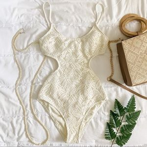 AERIE Ivory Lace Cut-out One-Piece Swim